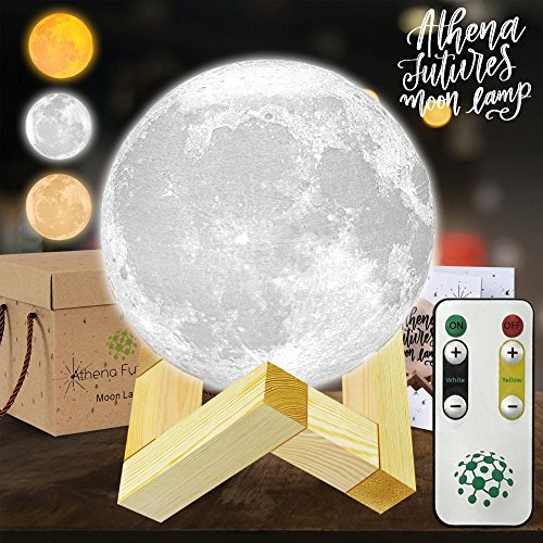 Moon Lamp Moon Light 3d Moon Lamp - 3 Color Moon Night Light With Stand - Mood Lamp Book, Globe Light, Cool Lamp, 3.93 in, USB Charging, With Wooden Stand, Box, Kids, MoonLight LED (USA Seller) Functional Three Light