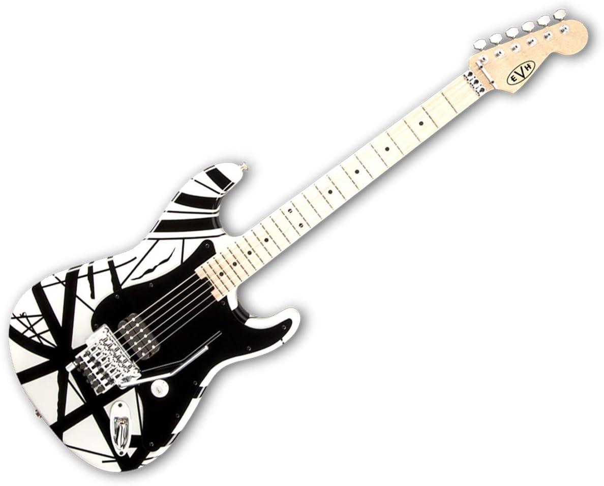 EVH rayas Series Guitarra eléctrica – color blanco con negro rayas ...