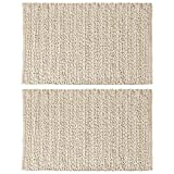 mDesign Soft 100% Cotton Luxury Hotel-Style Rectangular Spa Mat Rug, Plush Water Absorbent, Braided Design- for Bathroom Vanity, Bathtub/Shower, Machine Washable - 34'' x 21'' - Pack of 2, Natural