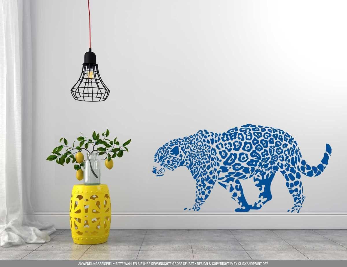 CLICKANDPRINT Aufkleber » Leopard, 150x74,4cm, Türkis Türkis Türkis • Wandtattoo   Wandaufkleber   Wandsticker   Wanddeko   Vinyl B073X7NNQJ Wandtattoos & Wandbilder d01375