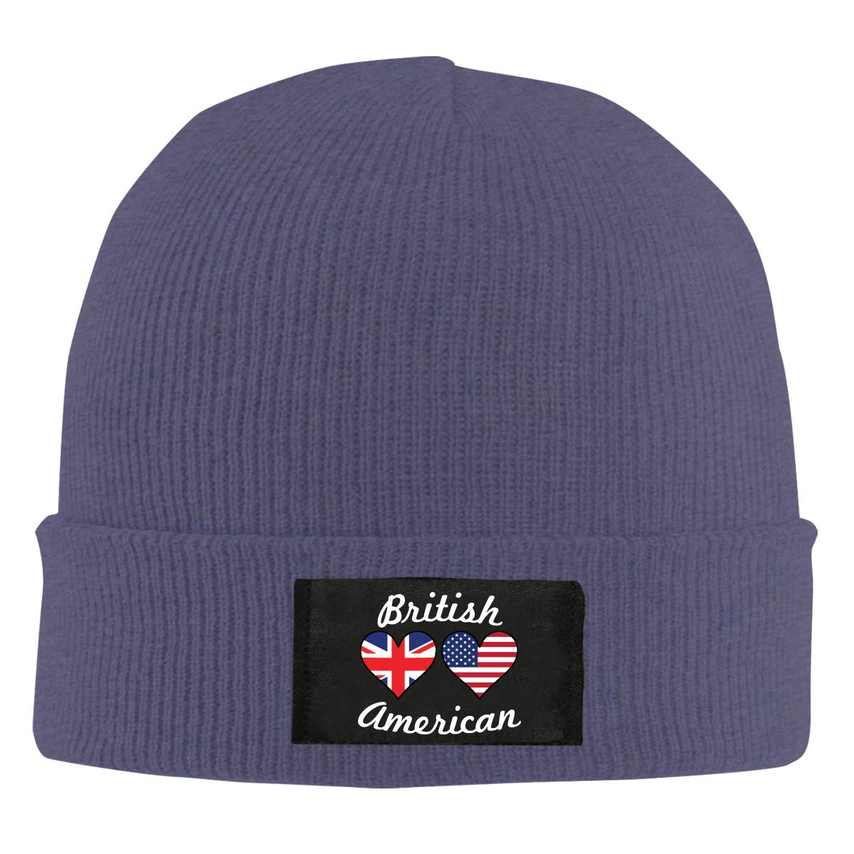 BF5Y6z/&MA Mens and Womens British American Flag Hearts Knit Cap 100/% Acrylic Comfortable Beanies Cap