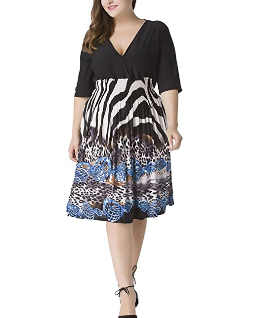 Damen Kleider Große Größen Frühling Sommerkleider Elegante 3 4 Ärmel Cute  Chic V-Ausschnitt High Waist Kleid Knielang Spleiß Blumen Mode Freizeit ... 5c4cdb02d7