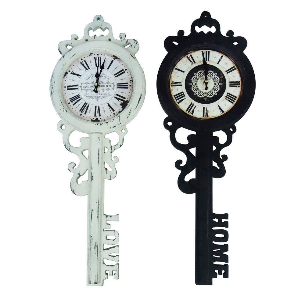 27'' Old Fashioned Look French Skeleton Key with Love Bottom Hanging Wall Clock by Decorative Wall Clock (Image #1)