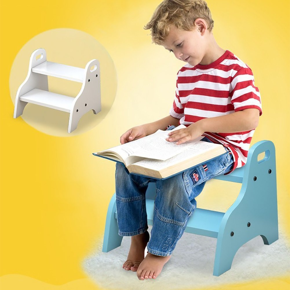 Yxsd Wood 2 Step Stool Ladder for Toddlers Bathroom Utility Small Foot Stools for Kids Potty Training Portable Indoor Flower Rack Color : Yellow