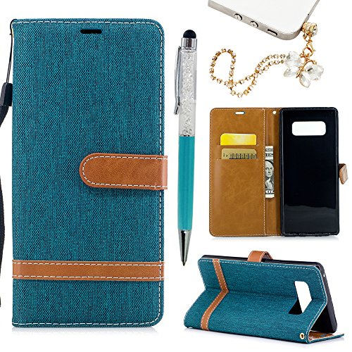 Galaxy Note 8 Case, Big Deals Premium PU Leather Blue Denim Fabric Business Purse Wallet Case Soft TPU Inner Bumper Credit Card Holder Flip Magnetic Stand Cover for Samsung Galaxy Note 8