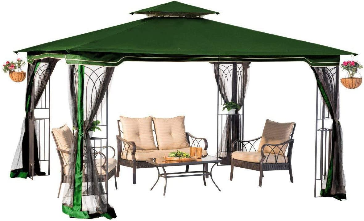 Sunjoy 10 x 12 Regency II Patio Gazebo con Mosquitero, Hunter Verde: Amazon.es: Hogar