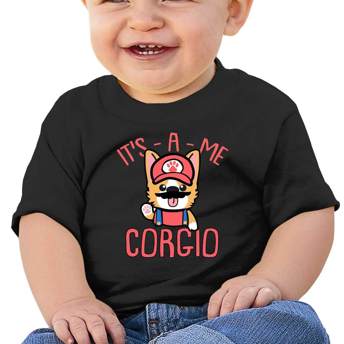 SakanpoCorgi Toddler//Infant Short Sleeve Cotton T Shirts Black