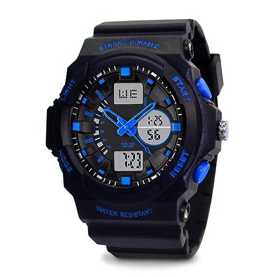TOPCABIN - Reloj digital y analógico para niños, diseño deportivo, con alarma y cronómetro, sumergible hasta 50 m, color azul: Amazon.es: Relojes