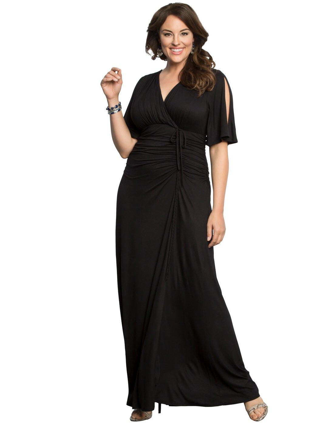 KIYONNA Women's Plus Size Bella Braided Maxi Dress 2X Black Noir