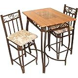 Amazon.com: Contemporary Pub Table Set - 3 Piece Counter Height ...