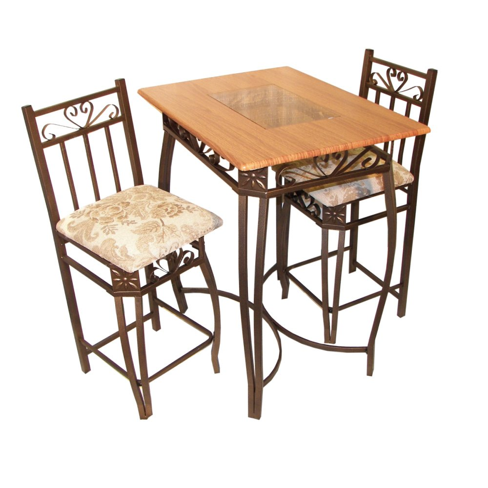 Home Source Industries Barcelona Bronze Metal Counter Bistro Set with Light Wood Table Top and 2 Chairs