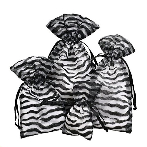ocked Zebra Pattern Sheer Organza Bags Jewelry Gift Bags Bathroom Soaps Business Samples Display Drawstring Pouches Party Favors ()