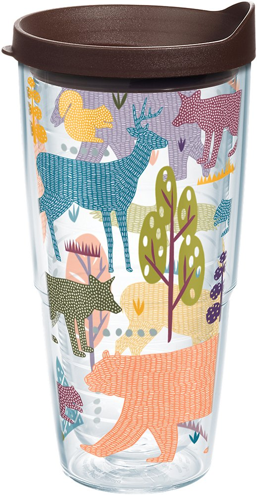 Tervis 1223032 Woodsy Animals Tumbler with Wrap and Brown Lid 24oz, Clear