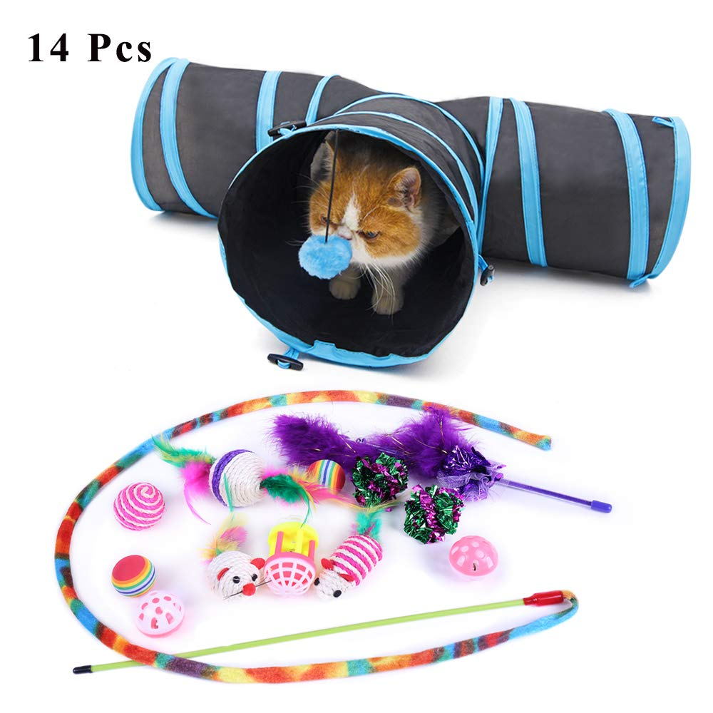 Speedy Pet 14Pcs Cat Toys Kitten Toys Variety Pack, 3 Way Tunnel,2Pcs Cat Teaser Wand Toys, Interactive Feather Toy, Crinkle Balls and Bells for Cat, Kitten