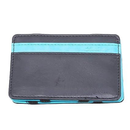 YESMAEay Minimalist Magic Wallet Piel Neutra Tarjetero Cartera Monedero, Cuero de imitación, Azul Claro