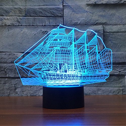 3D Illusion LED Night Light,7 Colors Gradual Changing Touch Switch USB Table Lamp for Holiday Gifts or Home Decorations(Sailboat - Model Cyan Light