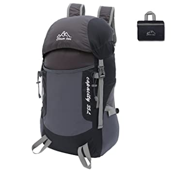 Ultralight Durable 35L Foldable Hiking Backpack Water-resistant Travel Daypack for Outdoor Camping HNHK0102 black