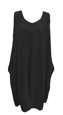 e71fbea2e44 SSoul New Ladies Lagenlook Sleeveless Women Plain Pure 100% Linen Tunic  Dress Plus Sizes (