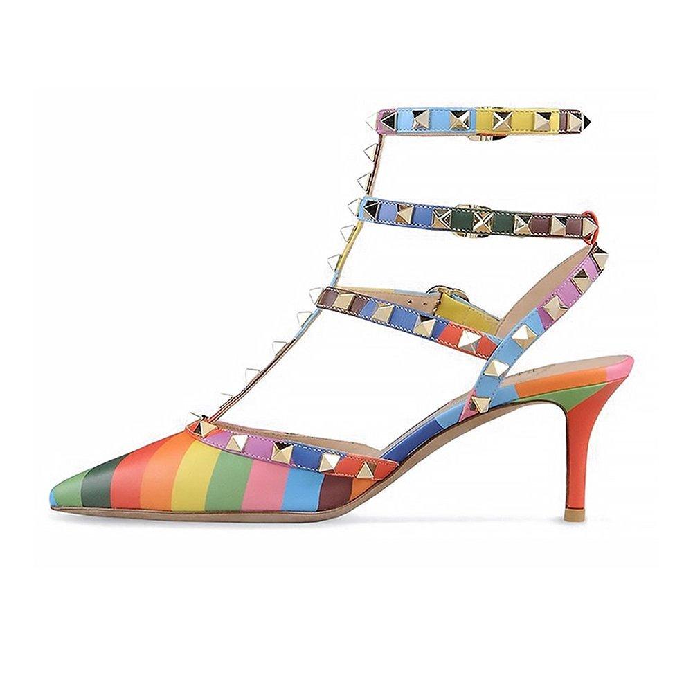 EKS Mesdames Stiletto Spikes Rivets Straps 19932 Stiletto Sandales Spikes Pompes Multicolore 2b62128 - shopssong.space