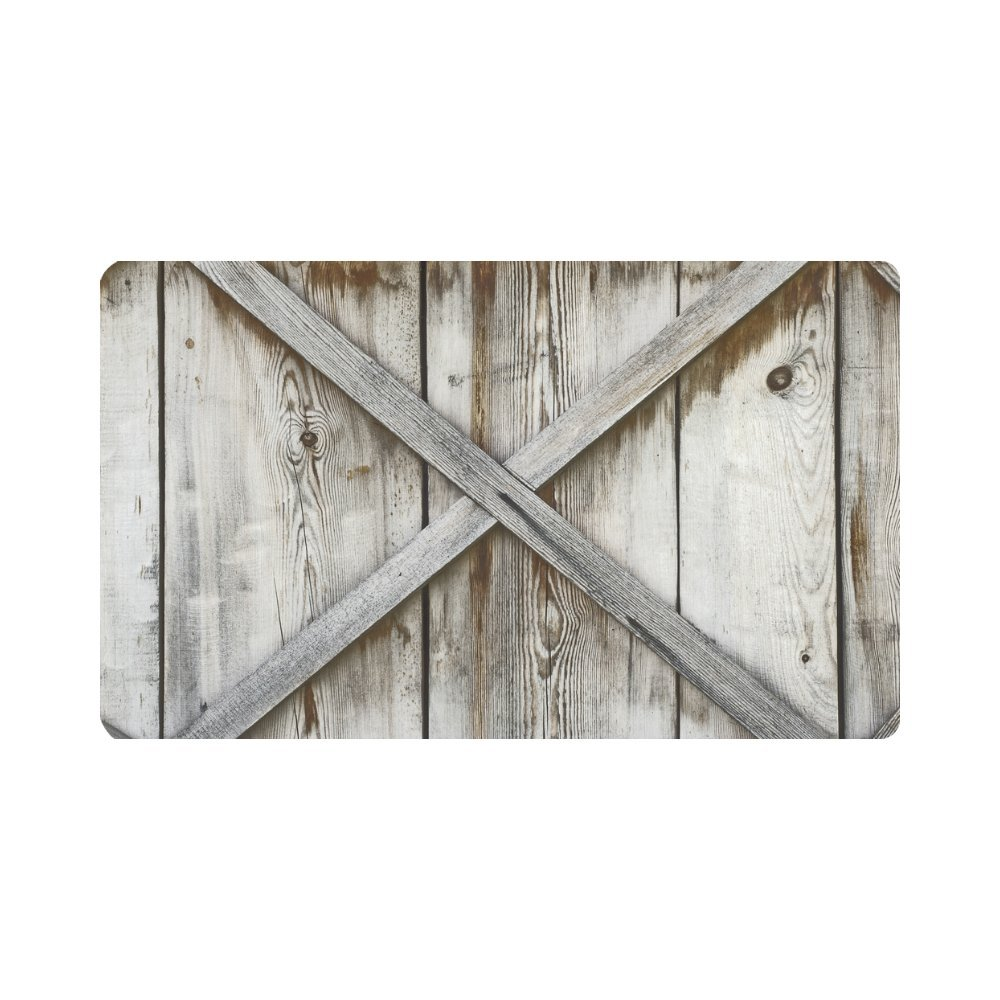 InterestPrint Plank Wooden Wall Non Slip Indoor/Outdoor Doormat Floor Mat Home Decor, Entrance Rug Rubber Backing 30''(L) x 18''(W)