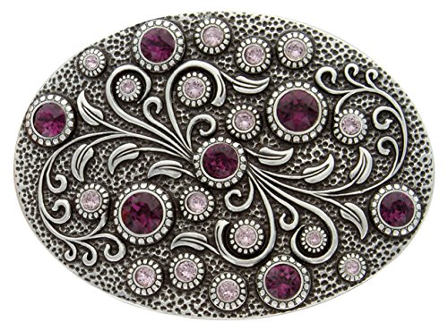 Engraved Silver Plated Oval Antique - Antique Silver Oval Engraved Belt Buckle With Swarovski Light & Dark Amethyst Crystal