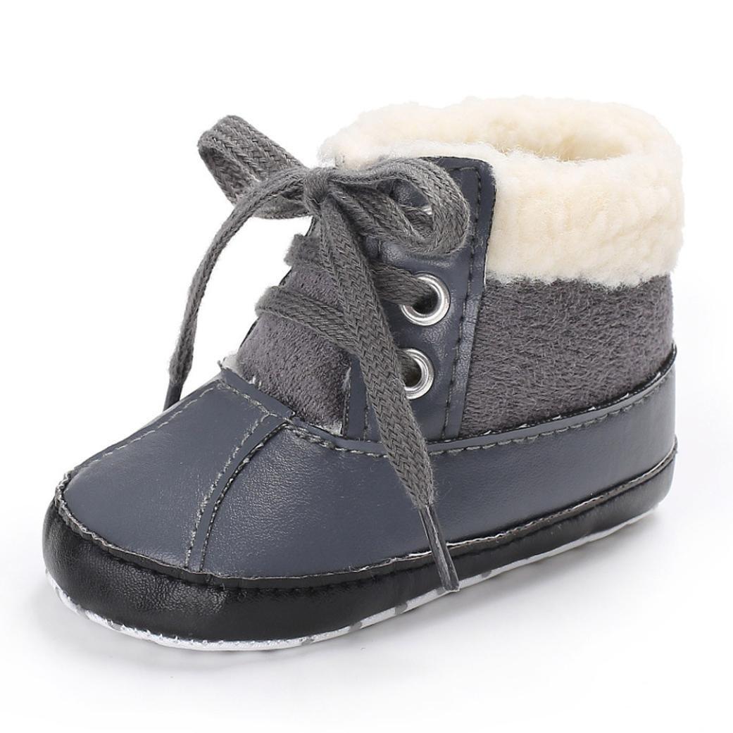 Boys Shoes, SHOBDW Girls Boys Snow Warm Crib Anti-slip Soft Sole Leather Winter Toddler Baby Boots SHOBDW-012