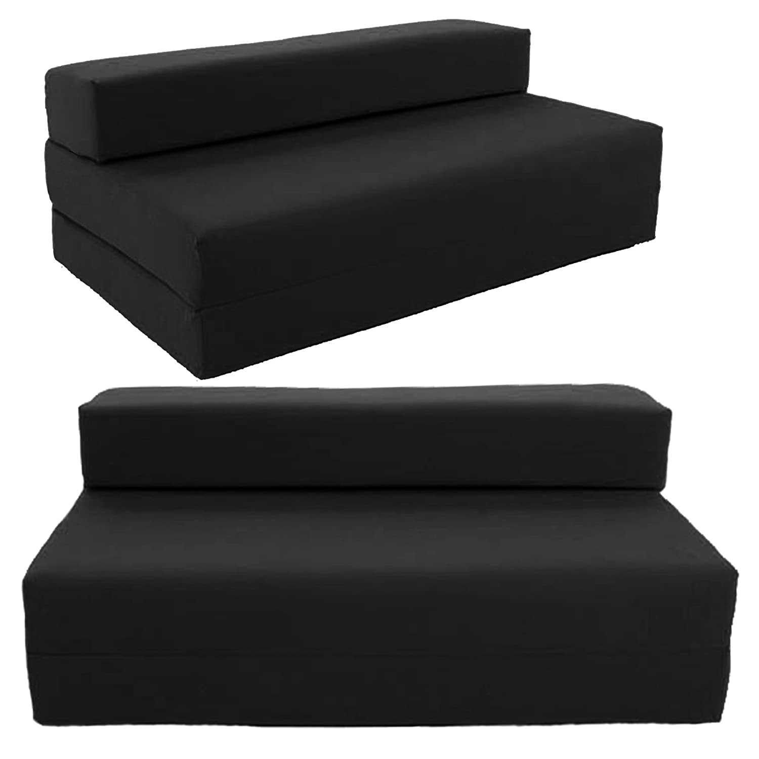 Folding bed chair - Gilda Double Sofa Bed Futon Black Indoor Outdoor Stain Resistant Fabric