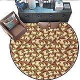 "Mushroom Non-Slip Round Rugs Organic Food Porcini Mushroom with Vintage Grunge Display Harvest Farmland Living Dinning Room and Bedroom Rugs (75"" Diameter) Cocoa Brown Beige -  Stevenhome"