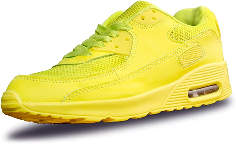Mujer Zapatillas de Deporte con Amortiguación de Aire Zapatos con Cordones Transpirables para Caminar Correr Amarillo EU 39: Amazon.es: Zapatos y complementos