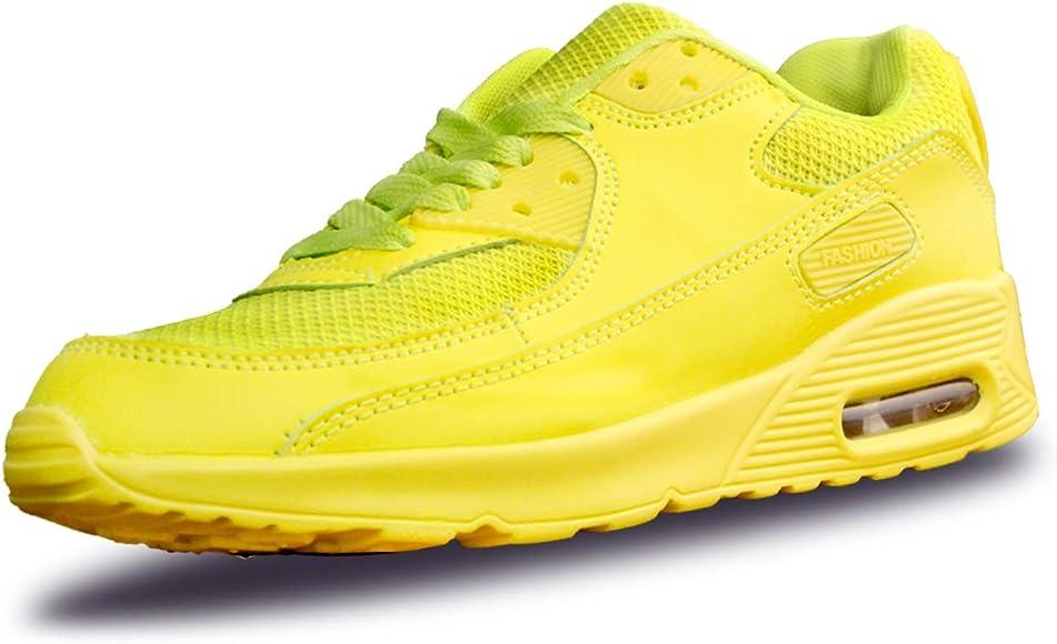 Mujer Zapatillas de Deporte con Amortiguación de Aire Zapatos con Cordones Transpirables para Caminar Correr Amarillo EU 36: Amazon.es: Zapatos y complementos
