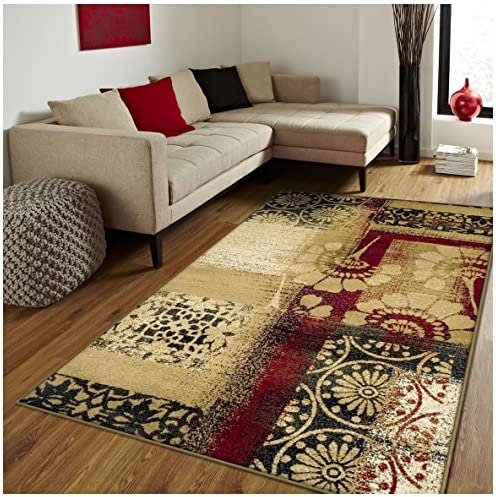 Superior Patchwork Collection Area Rug, Floral and Geometric Patchwork Design, 10mm Pile Height with Jute Backing, Affordable Contemporary Rugs – 5 x 8 Rug