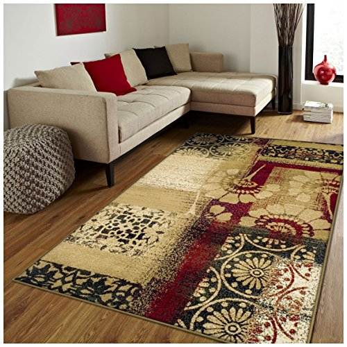 ollection Area Rug, Floral and Geometric Patchwork Design, 10mm Pile Height with Jute Backing, Affordable Contemporary Rugs - 5' x 8' Rug ()