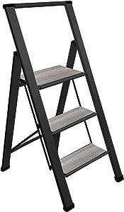 Sorfey Premium 3 Step Modern Gray Wood Ladder. Lightweight,-Ultra Slim Profile, Anti Slip Steps, Sturdy-Portable for Home, Office, Kitchen, Photography Use, Black Aluminum Finish