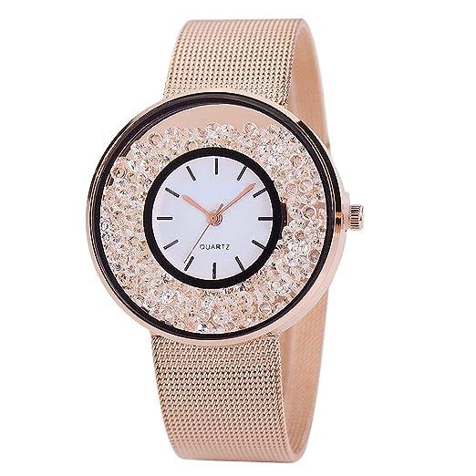Reloj de pulsera para mujer Marca Mesh Belt Crystal Quicksand Beads Reloj de pulsera de pulsera