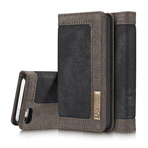 Cheap iPhoen 5S Case,iPhoen SE Case,AKHVRS Ultra Slim Case,Folio Denim Wallet Case,Flip Cover with Magnetic Closure for iPhoen 5/5S/SE (Black)