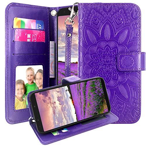 Alcatel 7 Case, Revvl 2 Plus Case (T-Mobile), Harryshell Alcatel 7 Folio Wallet Case Kickstand Flip PU Leather Protective Case Cover with Card Slots Wrist Strap (Purple)