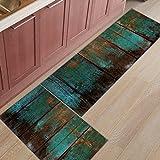 HomeCreator Non Slip 2pc Kitchen Area Rugs Wood Grain Absorbent Antibacterial Indoor Door Mats Set Machine Washable Rug Runner 15.7''x23.6''/15.7''x47.2''