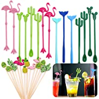 """Daily Treasures Cocktail Ice Drink Swizzle Sticks, 15Pcs 8"""" Flamingo Cactus Whale Reusable Novelty Swizzle Sticks with…"""