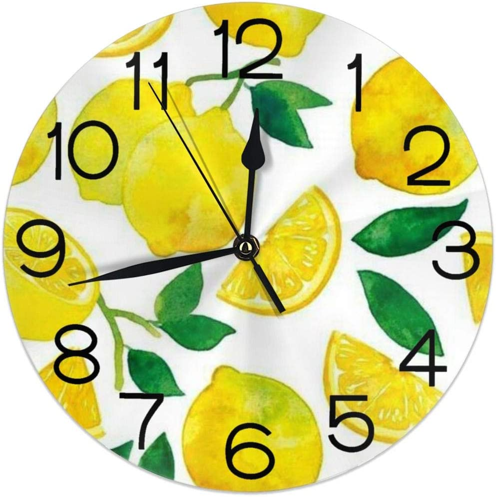 Home Decor Watercolor Lemon Fruit Clock Acryli Summer Max Limited price sale 49% OFF Wall Round