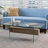 Wilmington Tempered Glass and Wood Coffee Table For Sale
