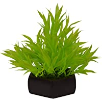 Fancy Mart Artificial Bamboo Leaves Plant (Size 7.5 Inchs/ 20 Cms) with Wood Hexagun Pot-0235-888