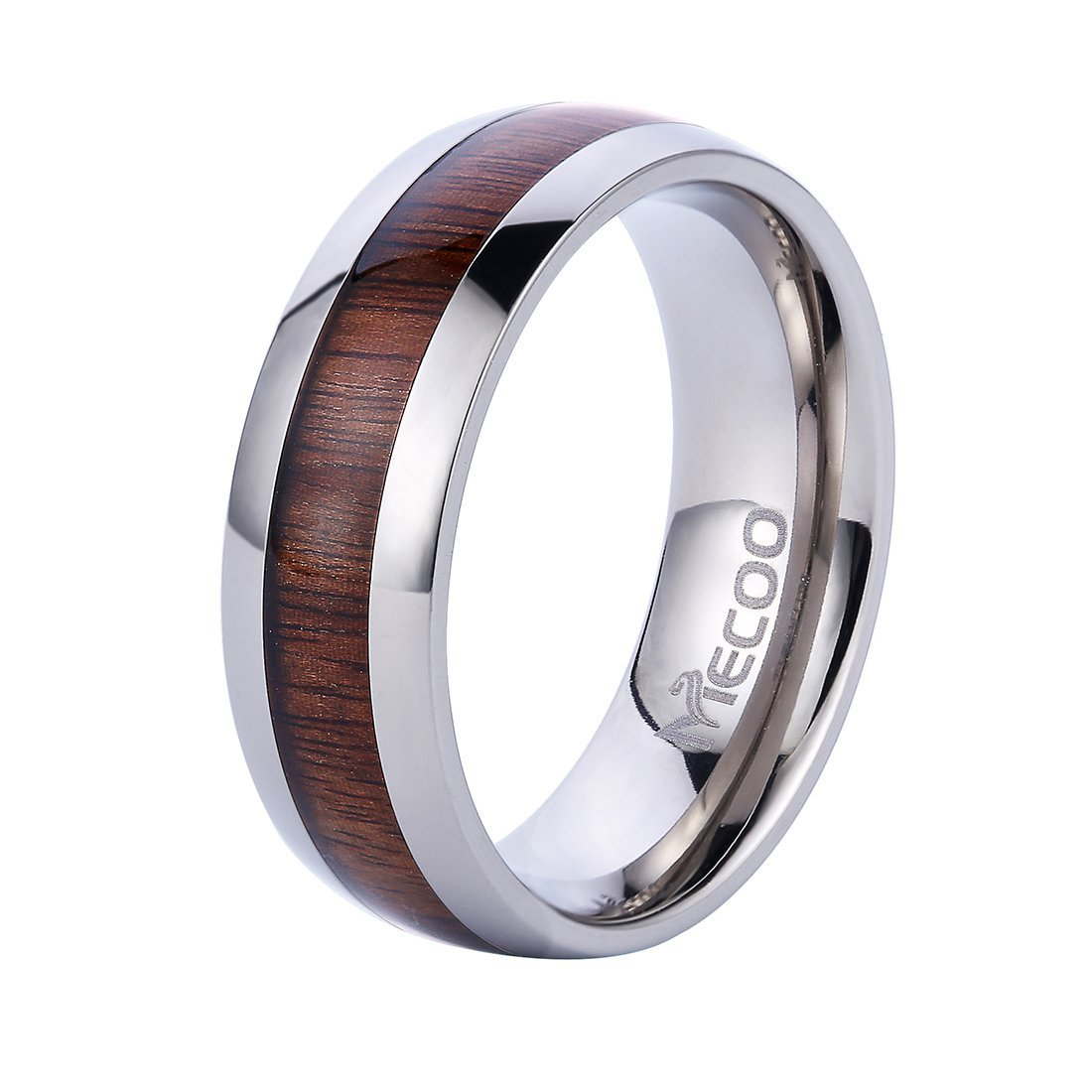 Mecoo Titanium Ring Wedding Band Engagement Ring with Real Wood Inlay Rings for Men 8mm Comfort Fit Size 7 to 13 (10)