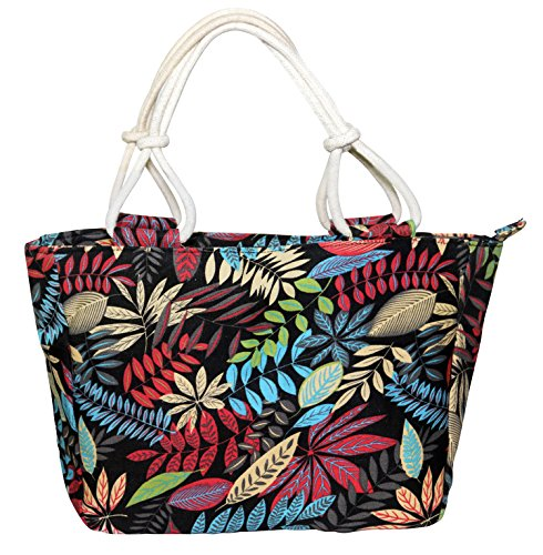 Floral Beach Bag (Canvas Tote Bag,Large Capacity Shopping Bag,Women Casual Floral Beach Bags …)