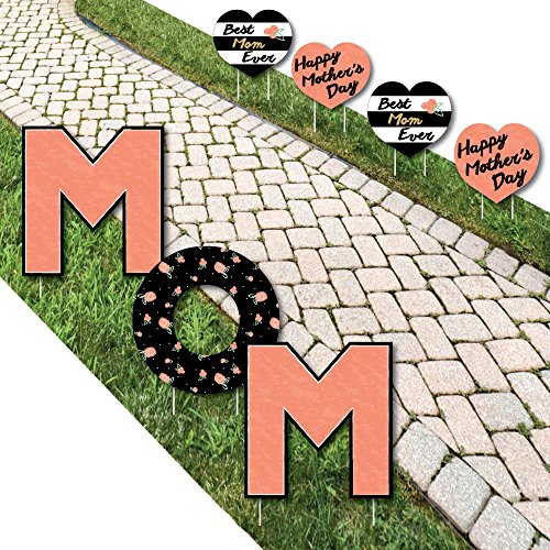 Happy Mothers Day Sign (Best Mom Ever - Yard Sign Outdoor Lawn Decorations - Happy Mother's Day Yard Signs - Mom)