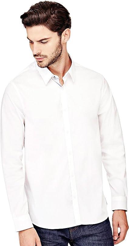 Guess Camisa Blanca de Hombre Venice (XL - Blanco): Amazon.es ...