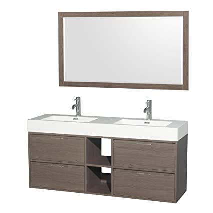 Wyndham Collection WCR460060DGOARINTM58 Daniella Double Vanity Set With  Acrylic Resin Countertop, Integrated Sinks, 58u0026quot