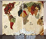 Bedroom Styles Wanderlust Decor Curtains By Ambesonne, Map Of World Made From Different Spices Design With Food Symbols Boho Style Home Decor, Living Room Bedroom Decor, 2 Panel Set, 108W X 84L Inches, Multi