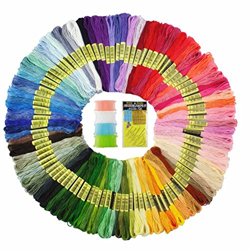 Embroidery Floss,100 Skeins Premium Rainbow Color Embroidery Threads Handmade Craft Floss Cross Stitch Threads Sewing Art for Friend Bracelets with Embroidery Tools ()