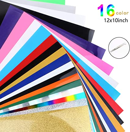 25 Pack 12x10 Assorted Colors Sheets for DIY T-Shirts Clothing HTV Heat Transfer Vinyl Bundle Iron On Vinyl for Silhouette Cameo,Cricut or Heat Press Machine Tool-Teflon Sheet Included