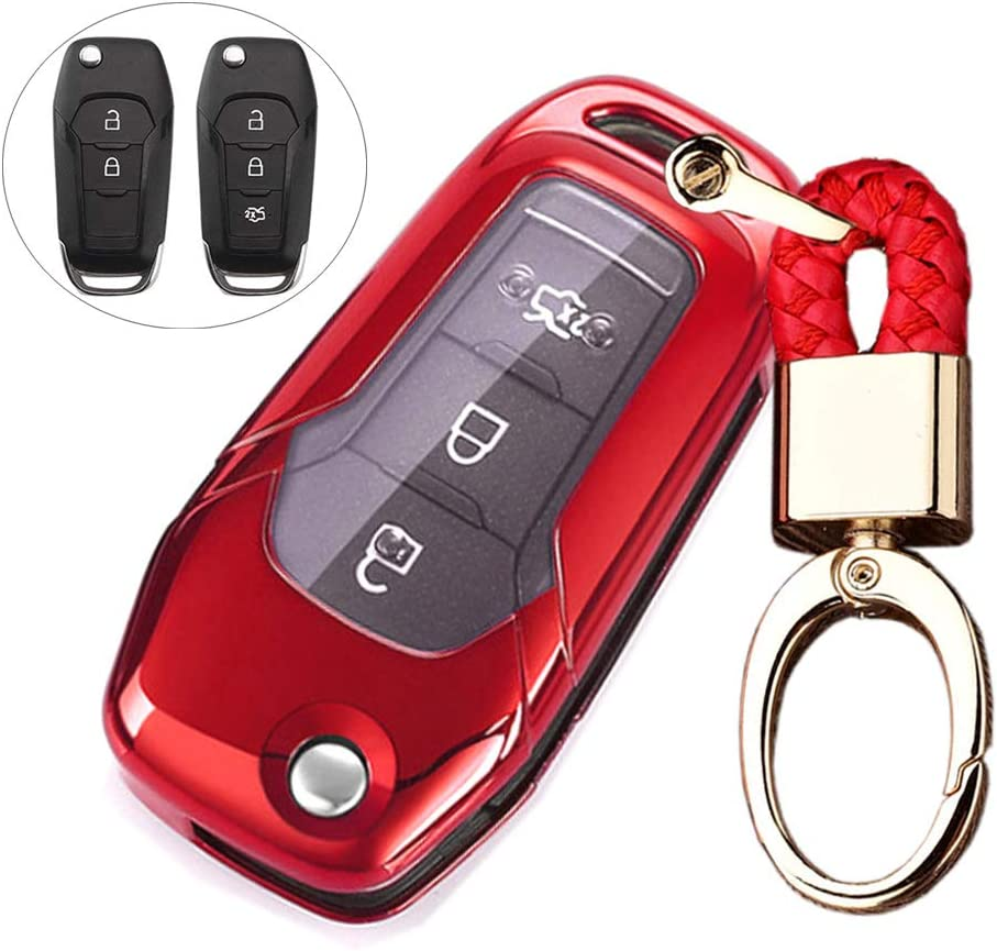 Royalfox TM 2 3 Buttons Soft TPU flip Remote Key Fob case Cover for 2015 2016 2017 2018 2019 Ford F150 F250,Focus 3 Escort Kuga Everest Fiesta Mustang Edge MKV Fusion 2016 Ranger red